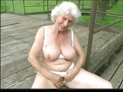 Granny Norma Outdoors with Big Toys and a Suck to Finish