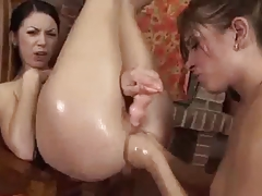 Hot Lesbian Fisting double handed and object fisting