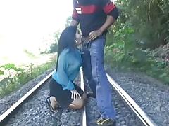 Latina Rough Blowjob On Railway Tracks
