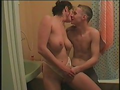 Russian couple in bathroom