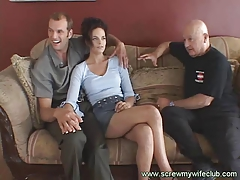 Brunette Wife On Threesome