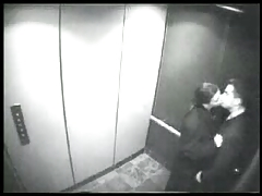 Security cam blow job in an elevator