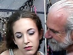 Sexy Brunette Wit A Great Body Gets Tide Up And Spanked By A Horny Old Man