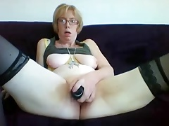 Blonde Saggy Milf Toying In Two Scenes