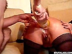 This Lady Swallows Huge Objects And Fists With Her Once Tight Asshole