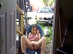 Girl Masturbates Outside The House