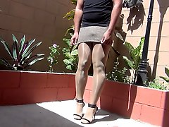 Feeling 5 Inches Heels In Pantyhose In A Shiny Day Part 2