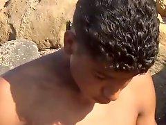 Tunisian Twink Wanks His Big Arab Dick Near The Beach