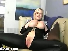 Blonde With Huge Boobs In Latex