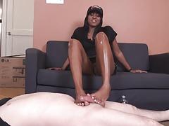 Ebony Footjob On White Cock
