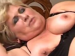 Slim Blonde 50 With Young Man In Bed