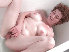 The Cutest Curly Girl Fingering Her Hairy Pussy