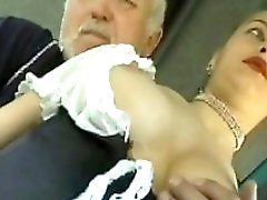 Young Girl In Sexy Waitress Outfit Groped By Old Man On Bus