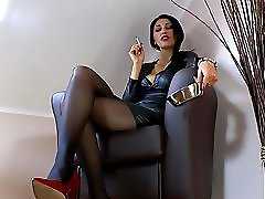 German Mistress Human Ashtray Pov In Red High Heels