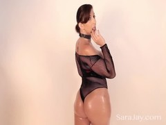 Sara Jay Is Oiled Up Sucking Cock