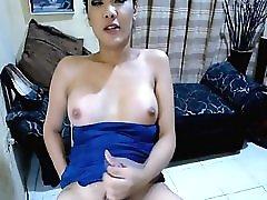 Hot Asian Tranny Masturbate Her Big Hard Cock