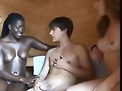 Teen Boy Gets Threesome In Sauna With Oral Creampie