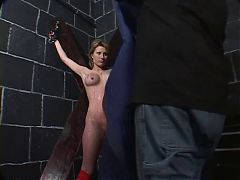 Big Tits Hottie In Red Fishnets Bound & Teased By Her Master