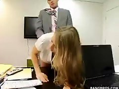 Blonde Busty Secretay Bent Over Desk