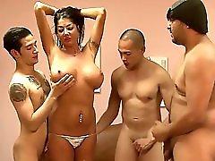 Fake Tits Skank Gets Gangbanged