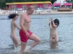 Two Skinny Nudist Teens Frolic Around The Beach