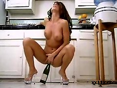 Girl Masturbating With Wine Bottle