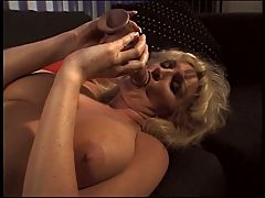 Blonde Mature Shows Her Seasoned Pussy And Fills It With Big Dildo