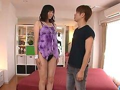 Saki Aoyama Asian Girl Giving Blowjob And Fucking Two Guys
