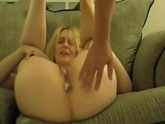 Blond Milf Creampie On The Sofa