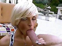 Blonde Milf Sucks A Big Fat White Cock