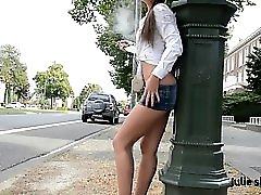 Julie Skyhigh Teen Hooker In Shortest Miniskirt & Nude Belly With Upskirt In Public