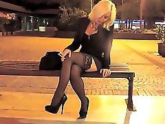 Smoking Blonde Promenading