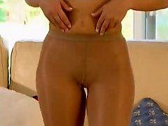 Blonde Tan Pantyhose Play