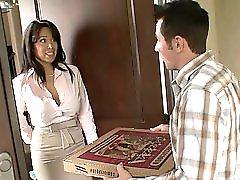 Hot Brunette Milf Sienna West Fucks Her Young Pizza Boy S Cock